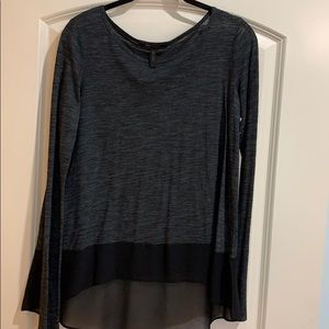 BCBG long sleeved top with sheer on the bottom